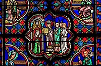 Stained glass window, church Sainte-Radegonde, Poitiers, Poitou-Charentes, France