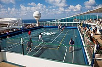 Cruise guests play dodgeball on cruise ship in Caribbean