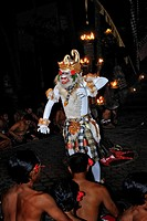 Masked dancer performing Kecak, Ketjak or Ketiak Dance in Ubud, Bali, Indonesia, Asia