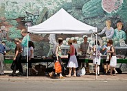 People shopping at St. Lawrence Farmer's Market, Toronto, Canada, North America