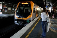 Metro arriving at platform, Town Hall Station, Sydney, Australia