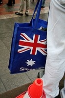 Man with australian bag, Sydney, New South Wales, Australia