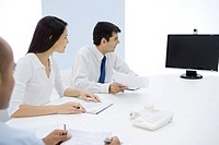 Group of executives having teleconference