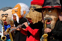 Group of musicians called Sax Puppets performing with fanciful masks, Kiel Week 2008, Kiel, Schleswig-Holstein, Germany, Europe