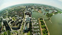 View from the Rheinturm Tower in Duesseldorf onto the harbour of Duesseldorf and the southern parts of the city, Duesseldorf, North Rhine-Westphalia, ...
