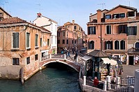 Canal and bridge on the Campo San Pantalon, Venice, Veneto, Italy, Europe