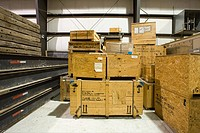 Crates in warehouse