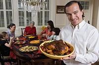 Man presenting food
