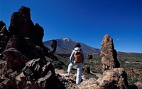 Hiking on the Teide Mountain, Los Roques, Tenerife, Canary Islands, Spain, Europe