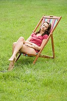 Woman sleeping in deckchair