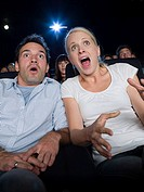 A couple watching a scary movie