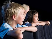 Children watching a movie