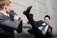 Businessman attacking
