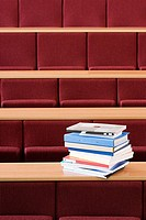 Books in lecture theatre
