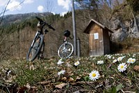 Bikes at Kalkalpen National Park, Upper Austria, Austria, Europe