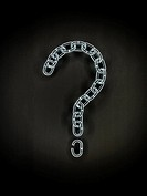 Question mark sign made from a chain.