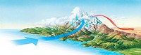 Foehn wind. Computer artwork of a foehn wind warming the leeward side of a mountain range. These winds occur due to the moist air cooling on the windw...