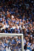 Upper corner of the goal in the sold out Schalke Football Arena, Gelsenkirchen, North Rhine_Westphalia, Germany, Europe