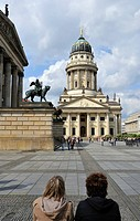 The Gendarmenmarkt Square, in the back the French Cathedral, Berlin, Germany, Europe