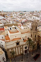 View over the roofs, rooftops of Cadiz beginning with the main square, Andalusia, Spain, Europe