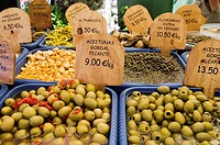 Market stall with olives and other spicy ingredients, Soller, Majorca, the Balearic Islands, Spain, Europe