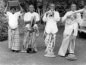 African musicians with European instruments, historical photo, circa 1930