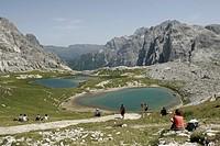 Laghi dei Piani or Boedenseen Lakes on the Drei Zinnen or Tre Cime di Lavaredo Plateaux, Sexten, Sesto Dolomites, Pustertal Valley or Val Pusteria, Bo...