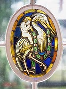 Stained glass art in a window, Bavaria, Germany
