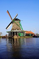 Windmill at an open_air museum, Zaanse Schans museum village, Netherlands, Europe