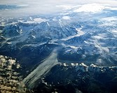 Glacier in southern Alaska, aerial view, USA
