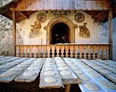 Baking farmer's bread, Stetterhof farm, Sarntal, Sarentino, Province of Bolzano-Bozen, Italy