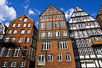 Historic timber framed merchant houses on the Nikolaifleet in the historic centre of Hamburg, Germany