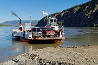 Public car ferry crossing the Yukon River, Yukon Territory, Canada