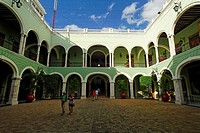 Courtyard, historic centre of Merida, Yucatan, Mexico