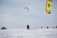 Snowkiting, kiteskiing, Mt. Wasserkruppe, Rhoen Mountains, Hesse, Germany, Europe