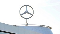 Mercedes star on building, Stuttgart, Baden-Wuerttemberg, Germany