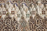Artistic arabesque stucco work, Palais de la Bahia, Medina, Marrakech, Morocco, Africa