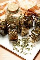 Herbs in glasses