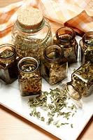 Herbs in glasses