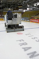 Ice hockey field is maintained, Frankfurt, Hesse, Germany