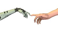 Artificial intelligence, conceptual computer artwork. Human hand right touching fingers with a robot´s hand left, mimicking Michelangelo´s painting Th...