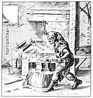 Blacksmith making a magnet, as depicted in the 1633 edition of De Magnete by the English physician and natural philosopher William Gilbert 1544_1603. ...