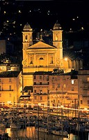 Church of Saint-Jean-Baptiste and Vieux Port (old port), Bastia. Haute-Corse, Corsica Island, France