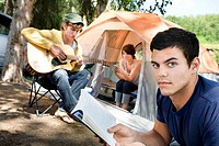 Young people at a campsite