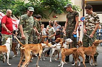 Spanish hunters and their dogs protesting in Las Palmas about the ban on the use of shotguns following a forest fire