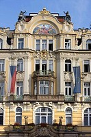Art nouveau facade. Old town square staromestske namesti. Prague. Czech Republic.