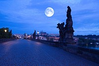 Baroque statues king charles iv bridge. Prague. Czech Republic