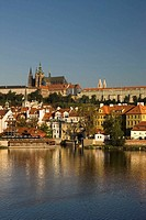 Cathedral castle skyline mala strana river vlatva. Prague. Czech Republic