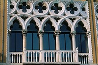 Italy _ Venice _ window _ elaborate Venitian design _ balcony