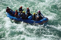 Rafting , rafters in paddleboat, Rishikesh , Uttaranchal , India